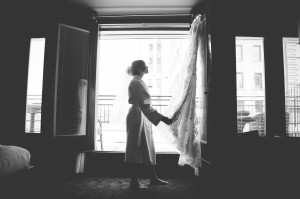 Montreal bride black and white portrait with wedding dress