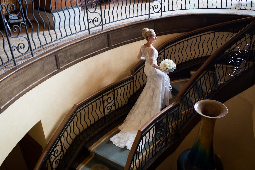 Montreal wedding photography at Hotel Quintessence Bride on staircase