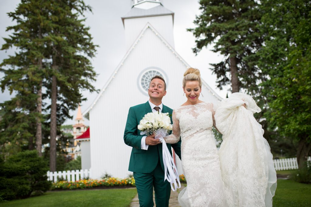 Montreal wedding photographer: Chapelle Tremblant bride and groom just married