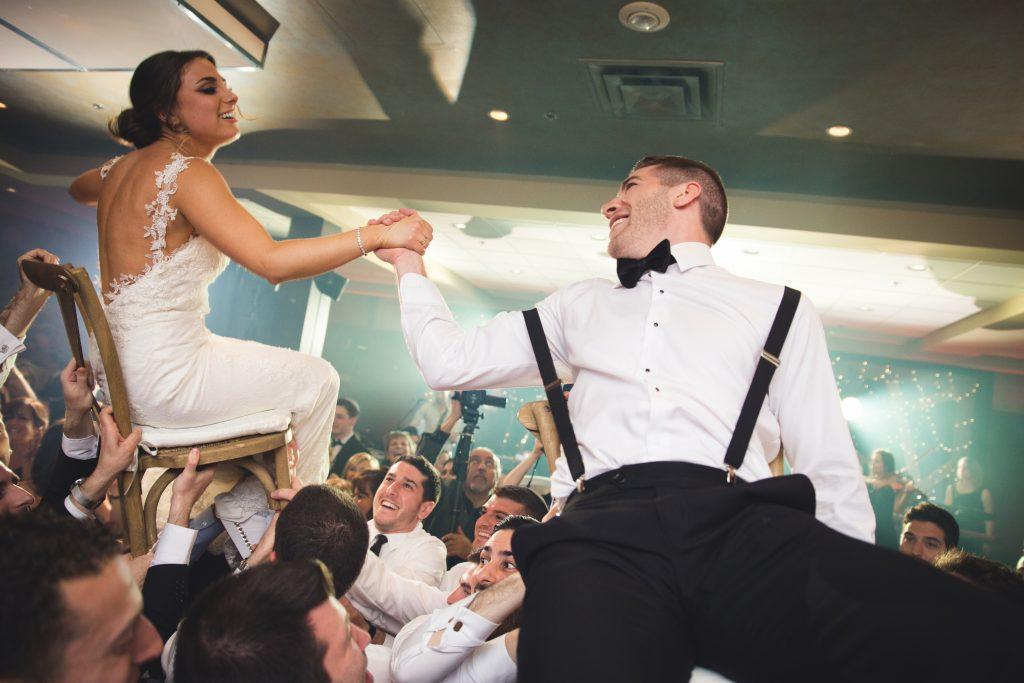 Bride and grooom horah