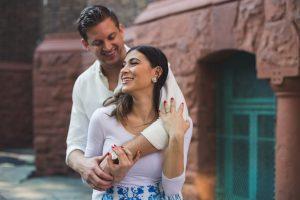 Engagement photo of couple portrait