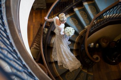 Montreal wedding photographer at hotel Quintessence bride on staircase
