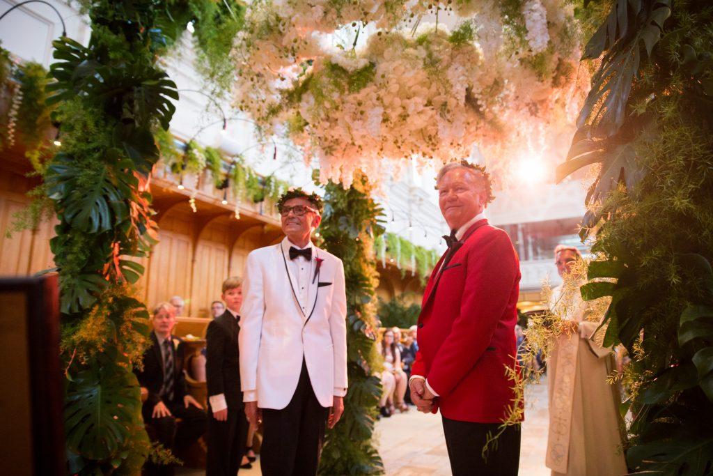 groom and groom ukranian wedding ceremony at abbaye, oka