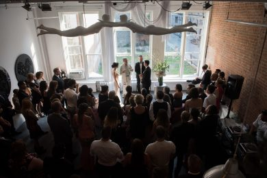 wedding ceremony in a loft