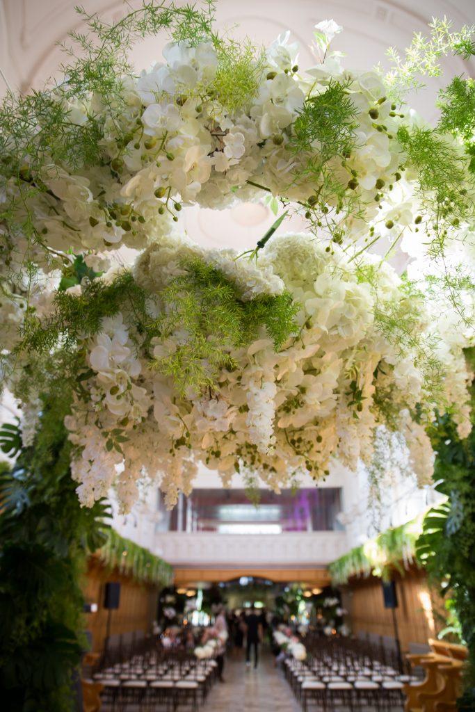 Greenery huppah with flowers at abbaye, oka