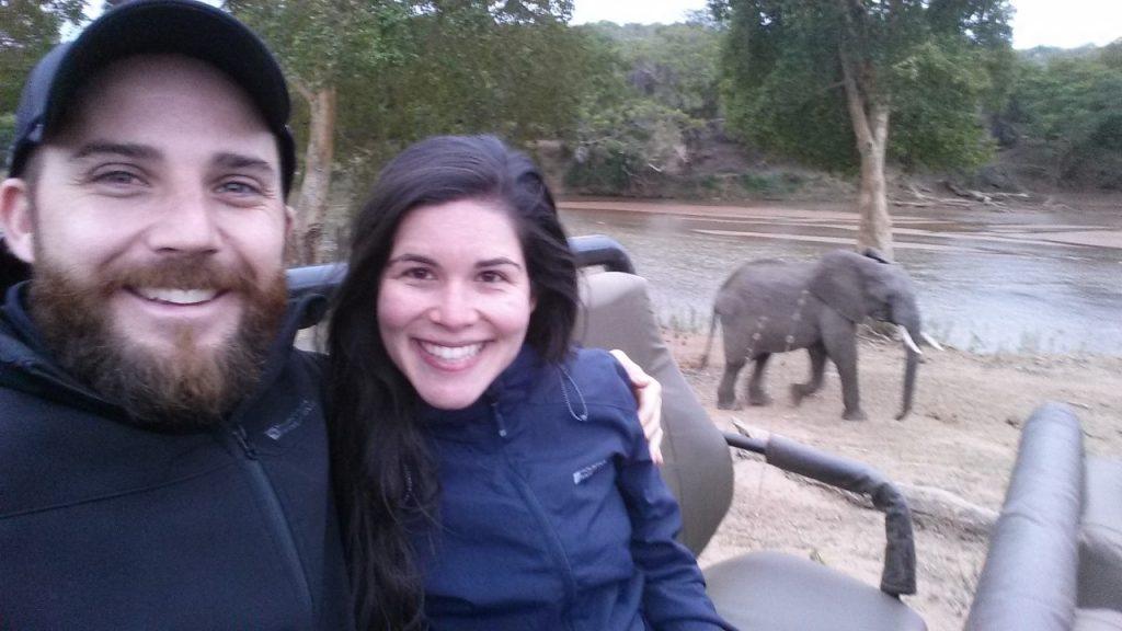 selfie of bride and groom on honeymoon